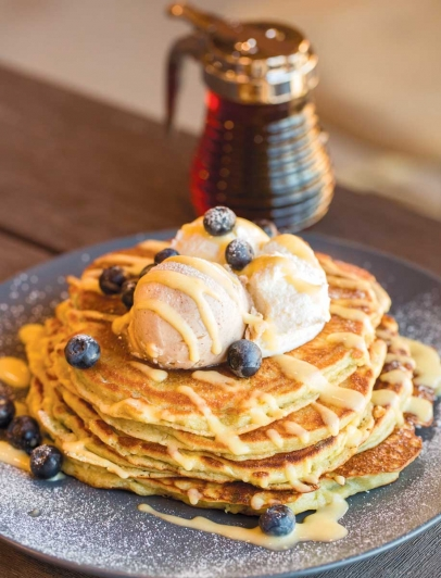 Applecrest Farm Bistro's ricotta griddle cakes with blueberries