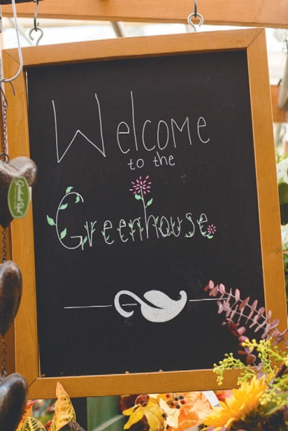 Welcome to Greenhouse chalkboard