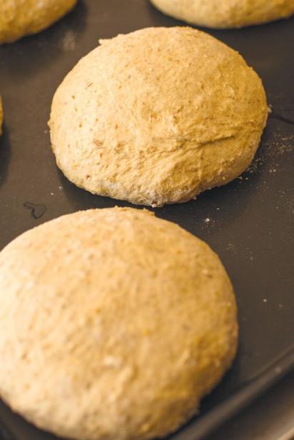Bread on the baking tray