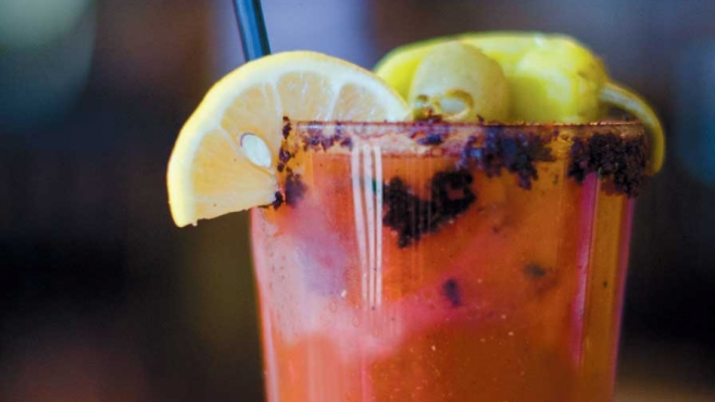 Grilled Tomato Sriracha Bloody Mary
