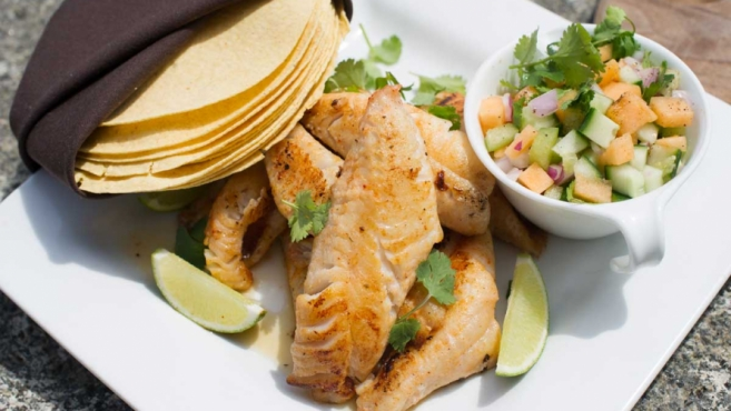Grilled Chile-Lime Fish Tacos with Tomatillo and Melon Salsa