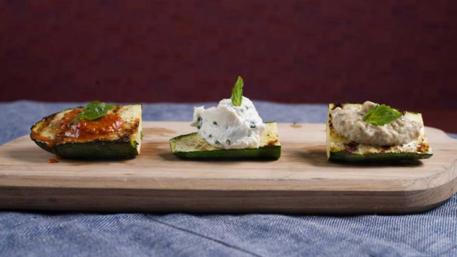 Grilled Zucchini Brsuchetta with Herbed Goat Cheese Spread, Roasted Pepper Spread and Baba Ganoush