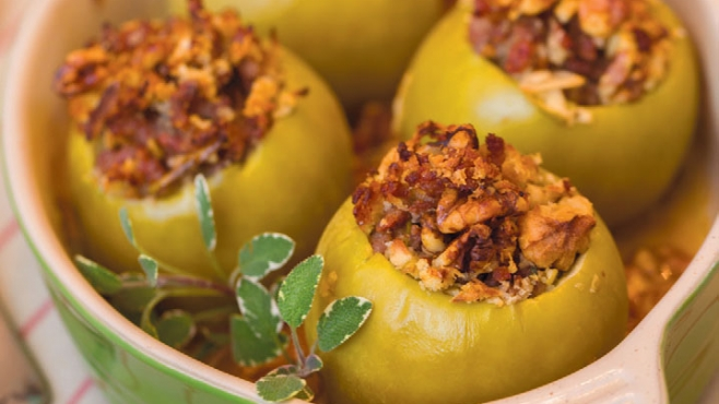Finished product of savory stuffed apples